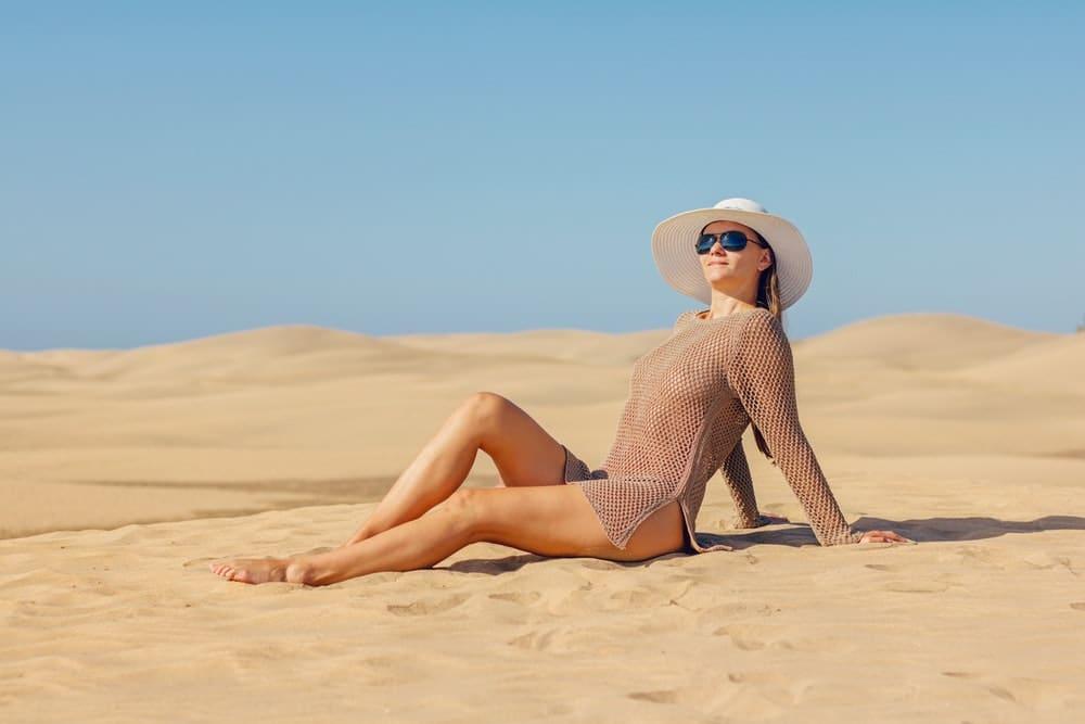 beach tanning woman